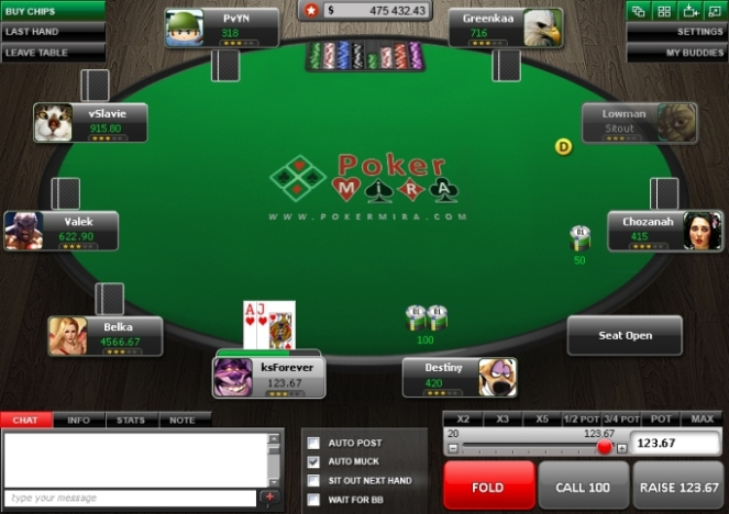 poker mira table